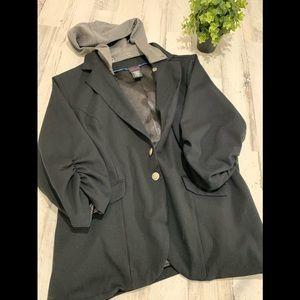 Torrid Womens Coat Black W/Hood Size 5